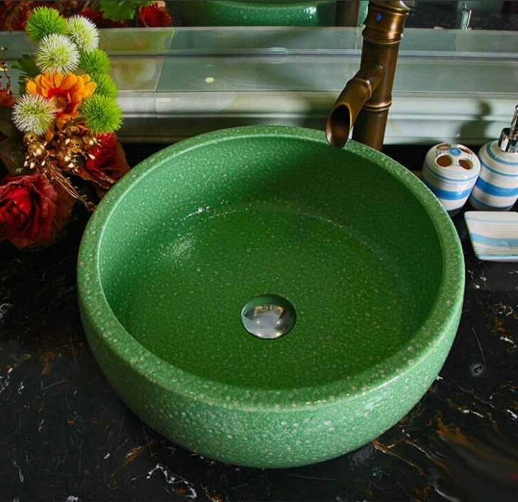 Green Porcelain Art Handmade Vessel Bathroom Sink