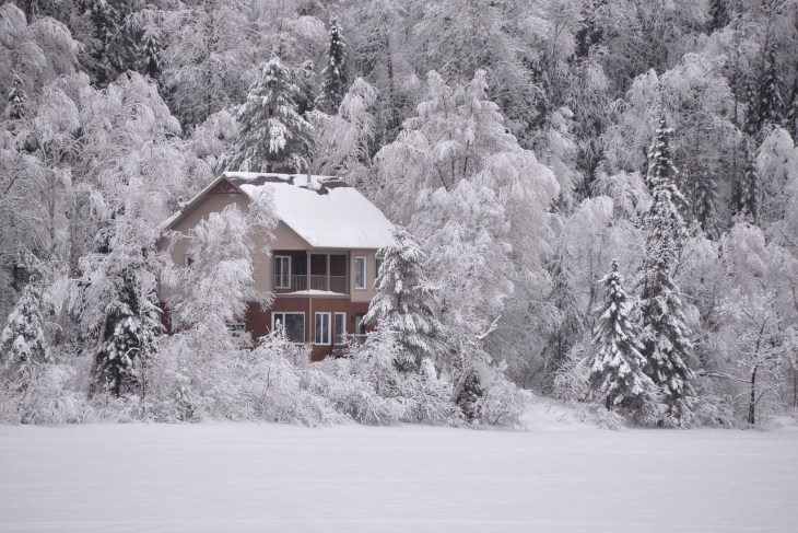 Isolated Country House After a Blizzard Winter Scene