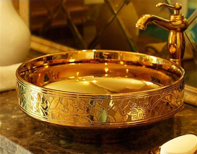 Lenox Engraved Porcelain Gold Sink