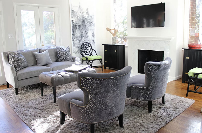 An example of a Living Room layout with the TV to the side of the sitting area
