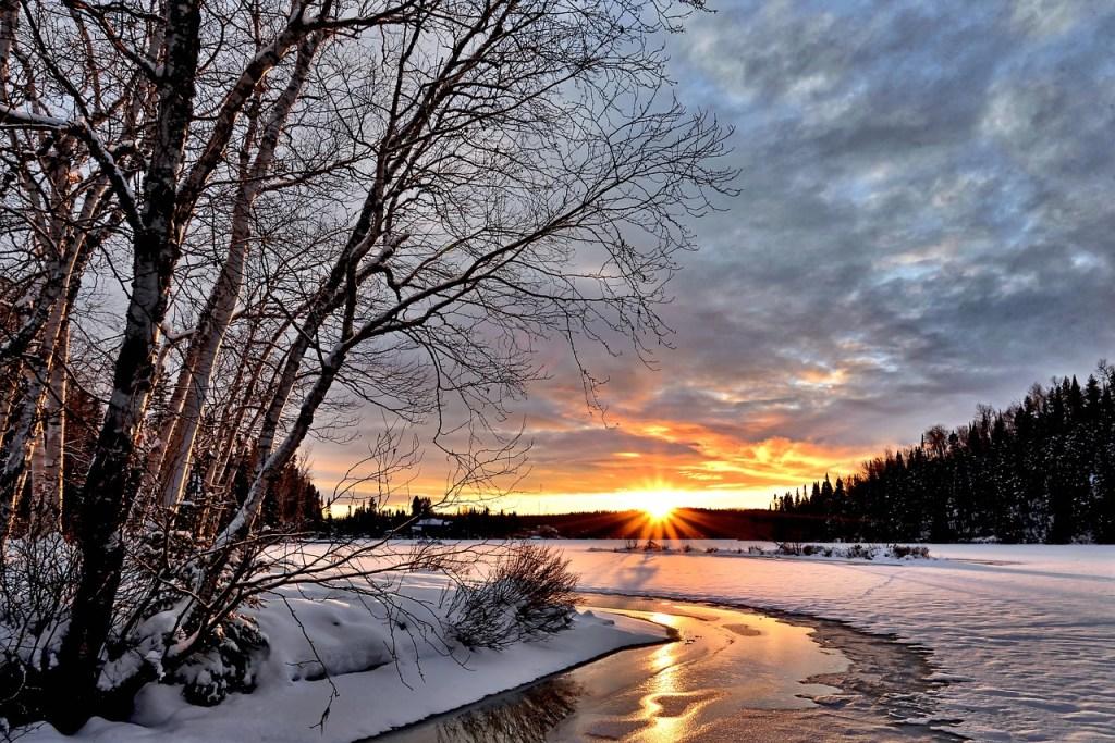 Nearly Frozen River Winter Scene