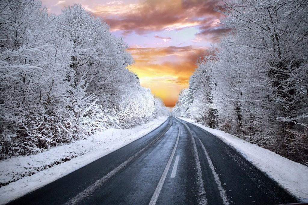 Sunrise Over Winter Road Winter Scene