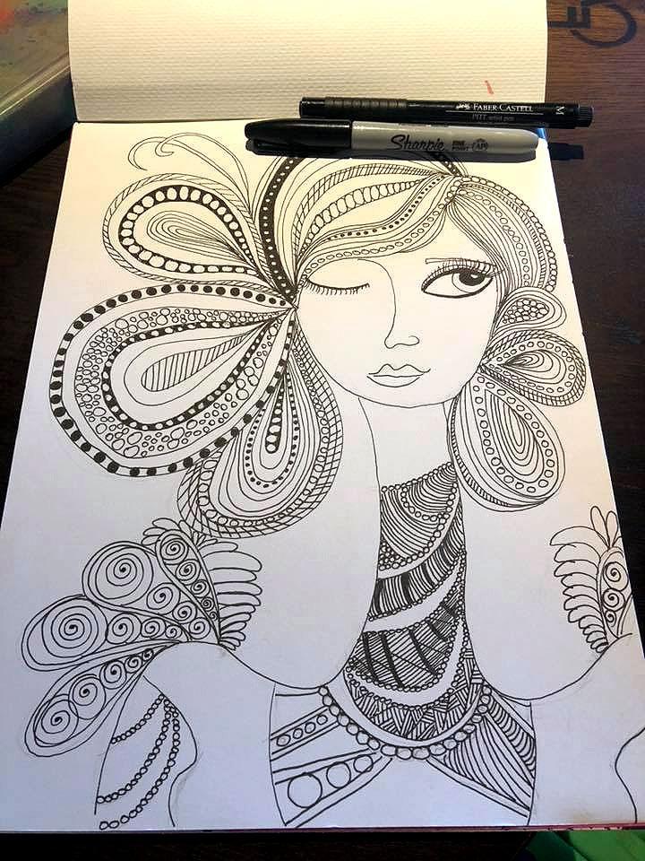 Sleep with One Eye Open -  Sharpie Art by Kemly-Verde