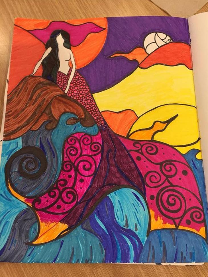 Unfinished Mermaid No 142 - Sharpie Art  by Kemly Verde