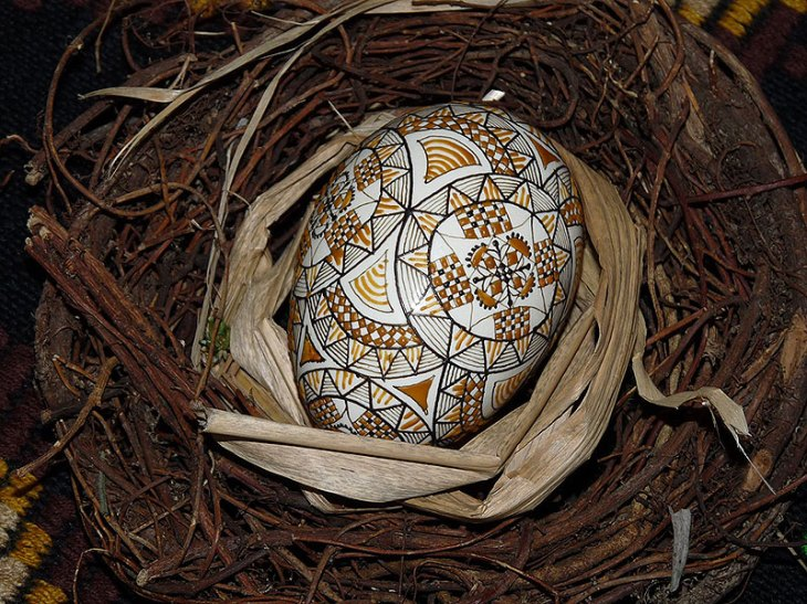 Intricate Hand-Painted Easter Egg