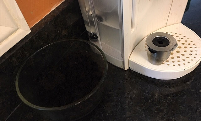 Capturing Coffee Grounds for use in your garden from a Keurig Coffee Machine