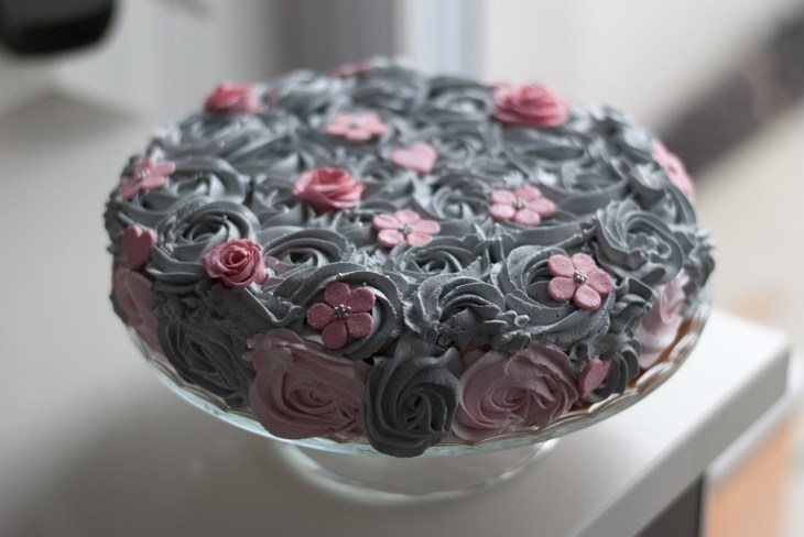 Elegantly Subdued Gray & Pink Birthday Cake