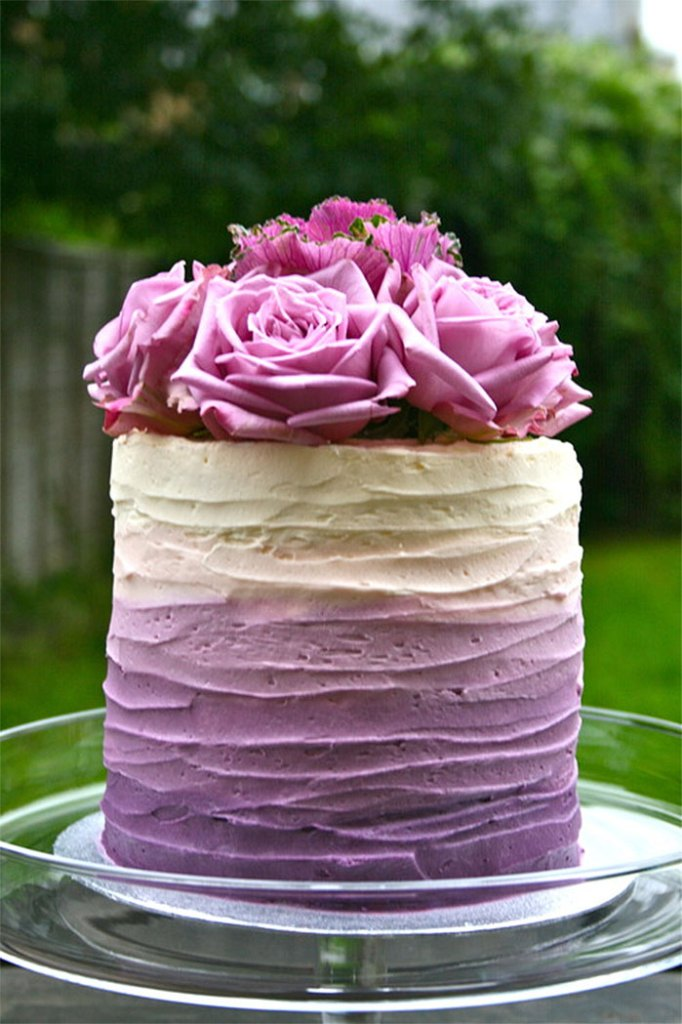 Purple Ombre Beautiful Birthday Cake