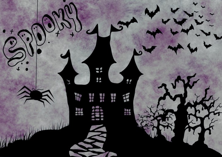 Purple Spooky House Free Printable