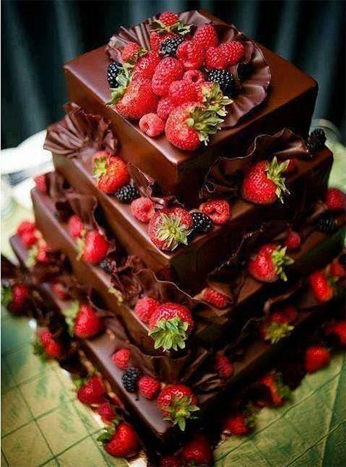 Square Tiered Chocolate & Field Berry Cake