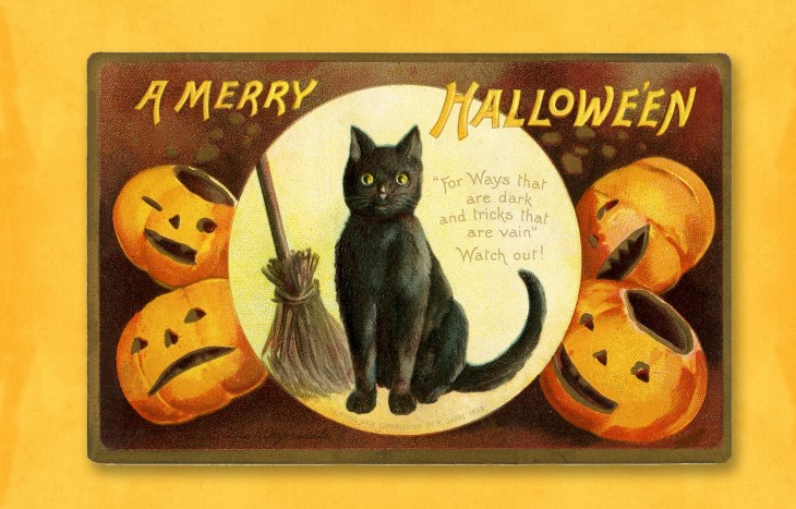 Vintage Halloween Printed Cat Sign