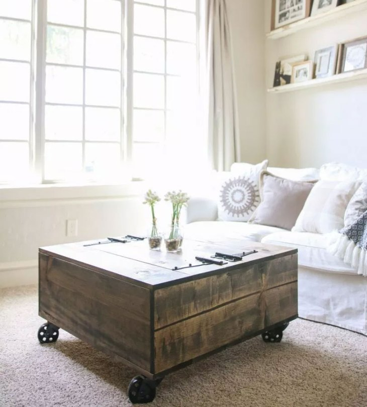 DIY Industrial Farmhouse Storage Coffee Table
