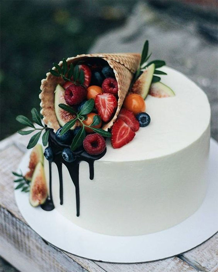 Fruit Cornucopia Birthday Cake