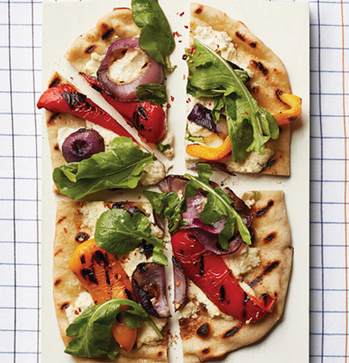 Grilled Pepper and Red-Onion Pizzas