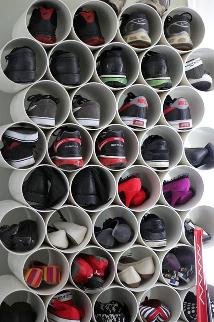 PVC Tube Shoe Cubbies