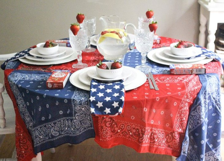 Red, White, and Blue Bandanna Tablecloth