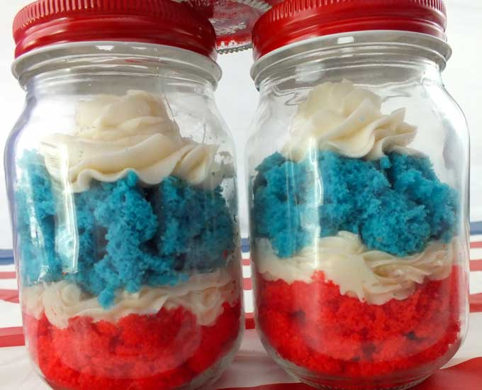 Red, White and Blue Jar Cupcakes