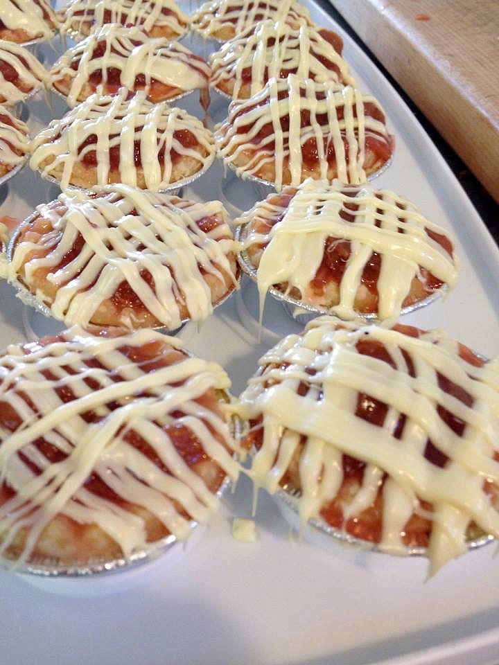 Strawberry Rhubarb White Chocolate Mini Tarts