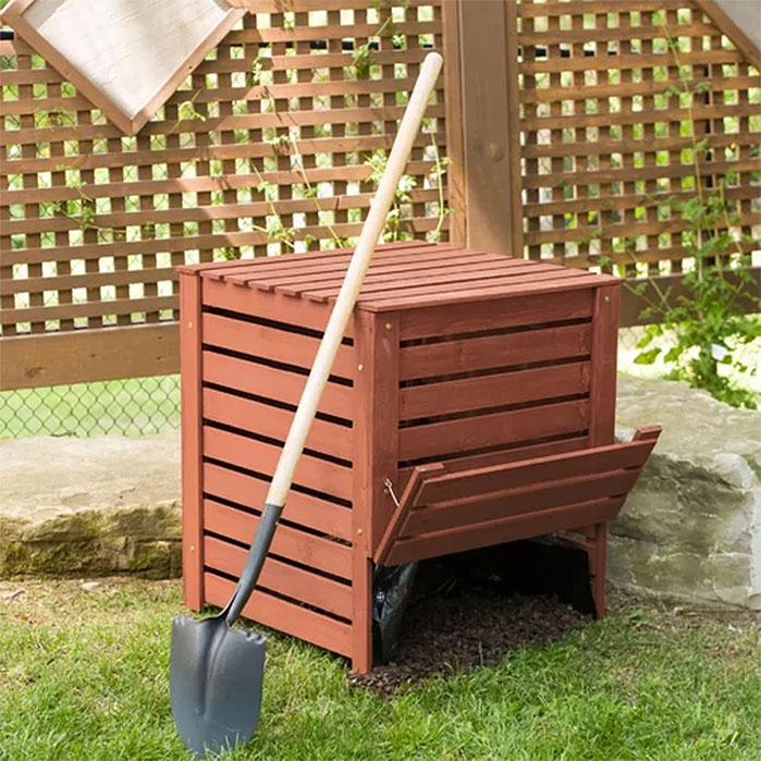 Wood Slat Outdoor Compost Bin