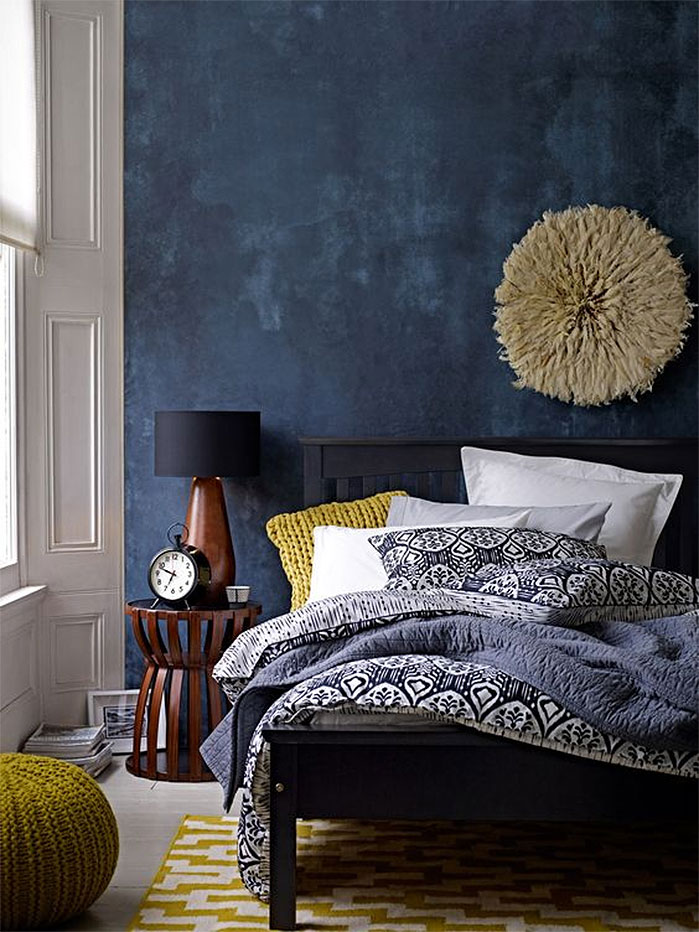 Blue Plaster Bedroom Walls