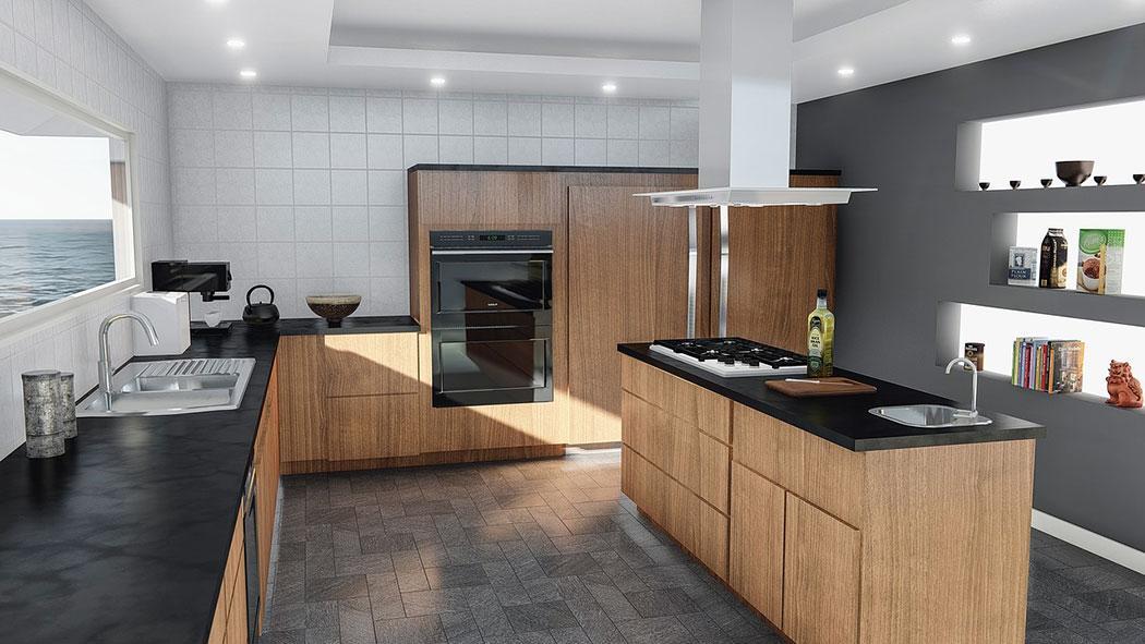 Built In Back-lit Shelves in Kitchen