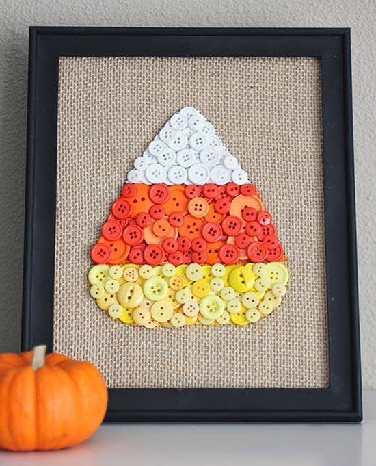 Candy Corn Buttons DIY Fall Wall Art