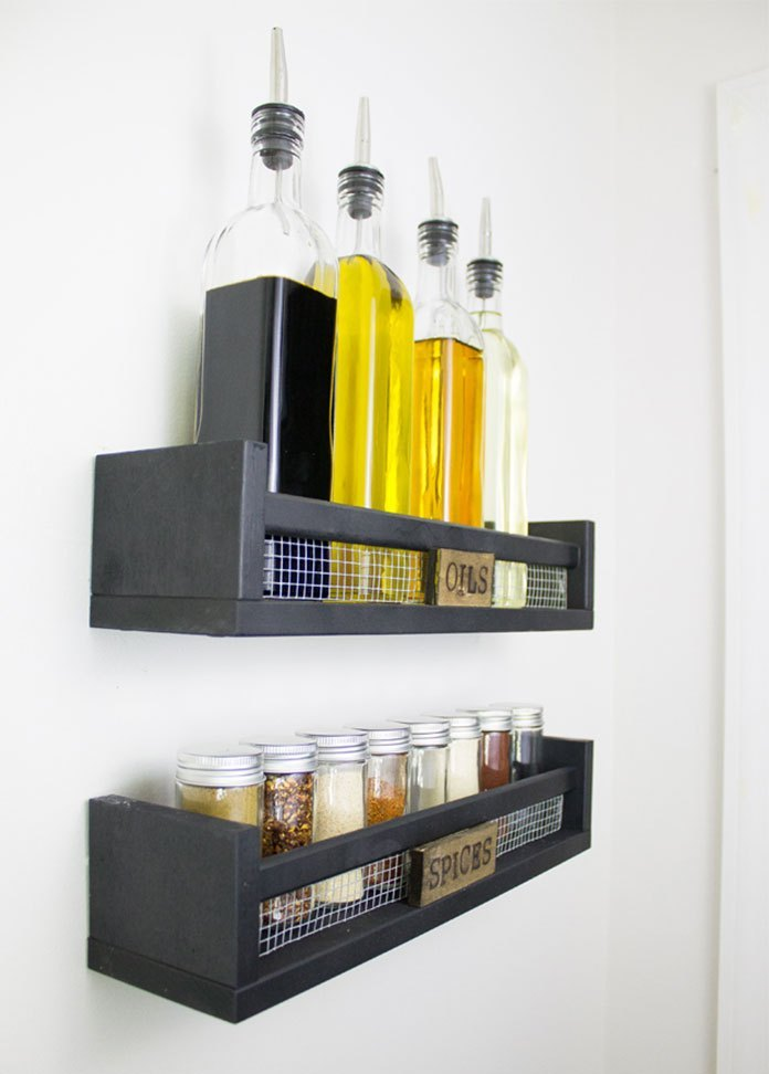 DIY Farmhouse Spice & Oil Racks