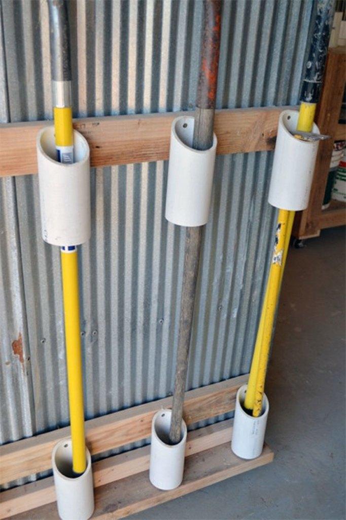 Garden Tool Tubes Quick and Easy DIY Garage Hack