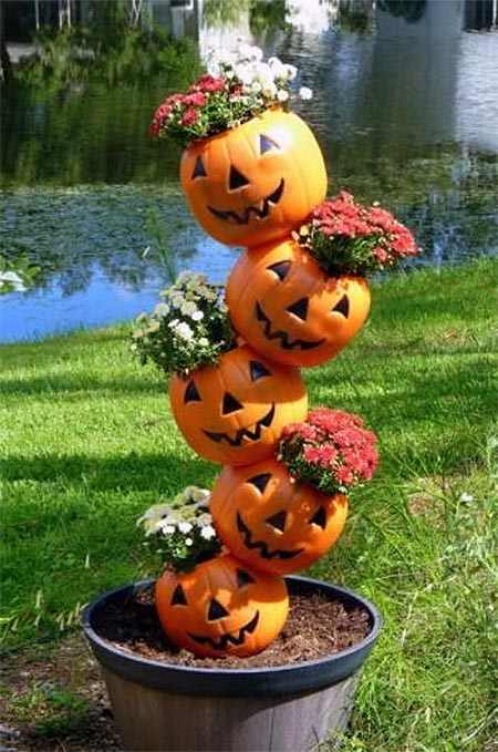 DIY Pumpkin Tower Planter