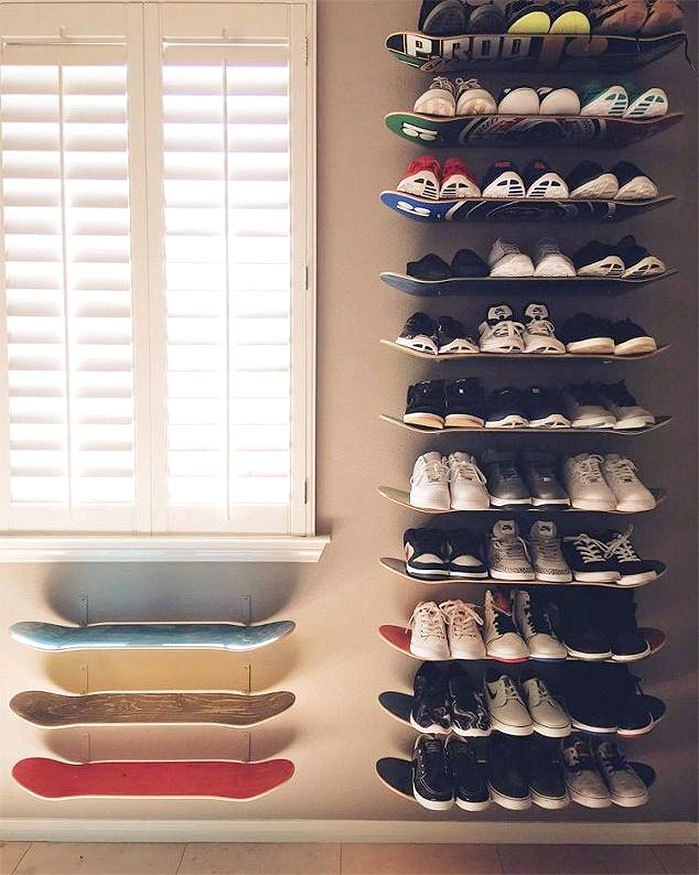 DIY Skateboard Shoe Shelves