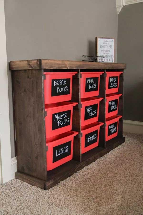 DIY Storage Bin Dresser