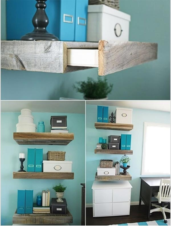 Floating Shelves with Storage Drawer