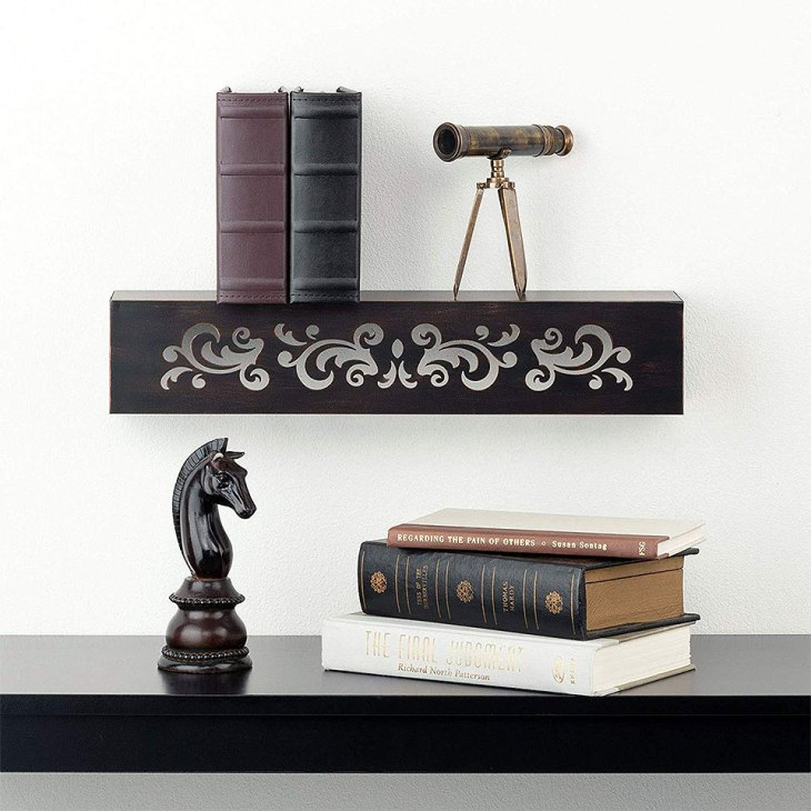 Floral Venetian Floating Metal Wall Shelf