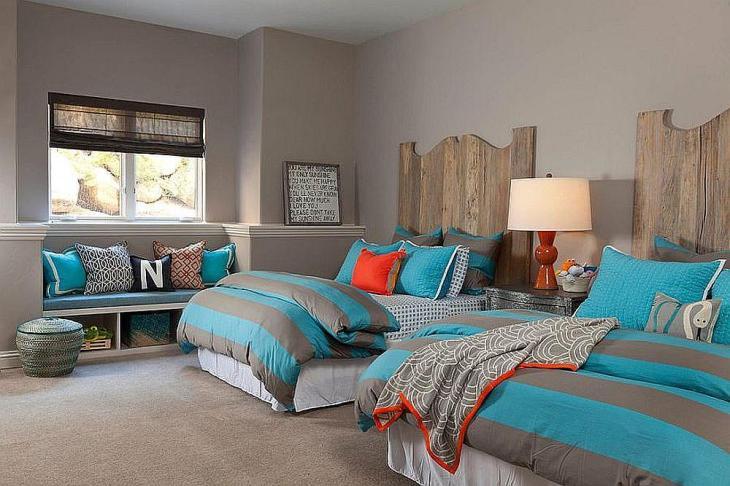 Kid's Gray & Turquoise Bedroom