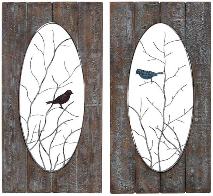 Love Birds Wood & Metal Wall Art