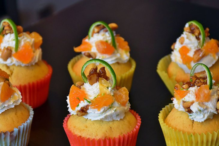 Mandarin Orange Cupcakes with Cucumber and Candied Walnuts