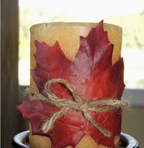 Maple Leaf Wrapped Candle