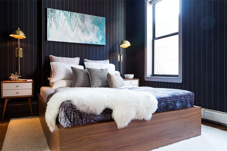 Mid-Century Modern Blue Pinstripe Bedroom Design