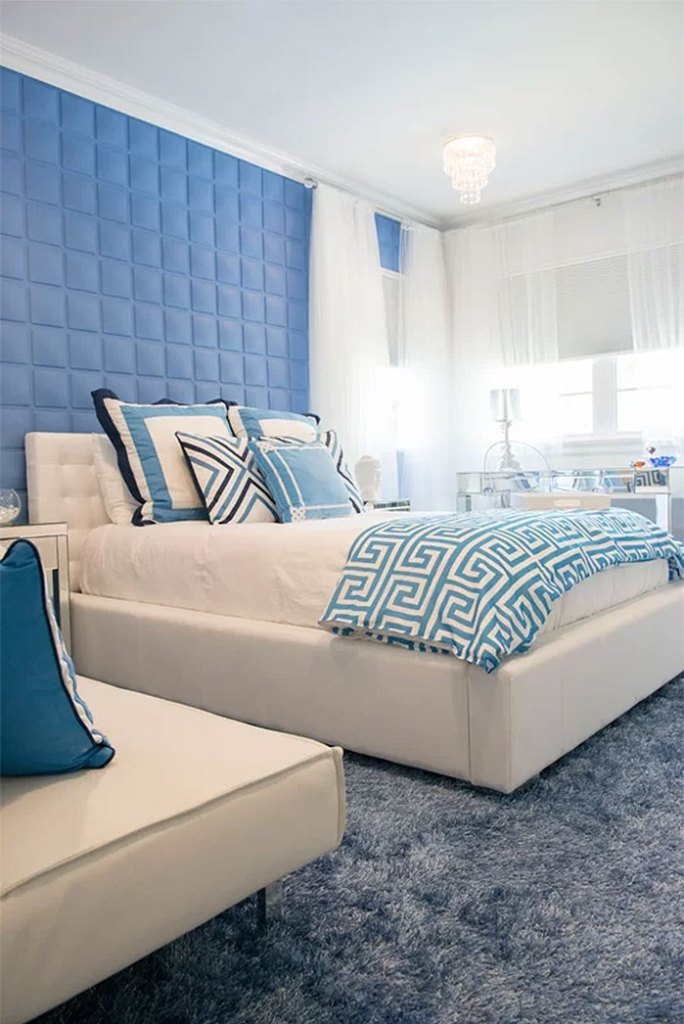 Modern Bedroom with Blue Fabric Walls