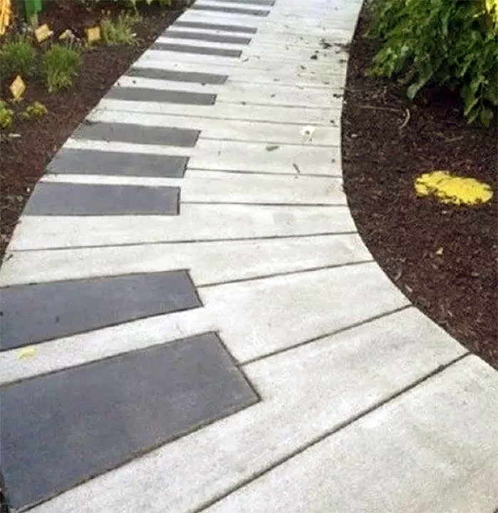 DIY Backyard Ideas | Piano Poured Concrete Walkway
