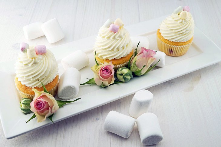 Pretty Floral Cupcakes on a White Tray