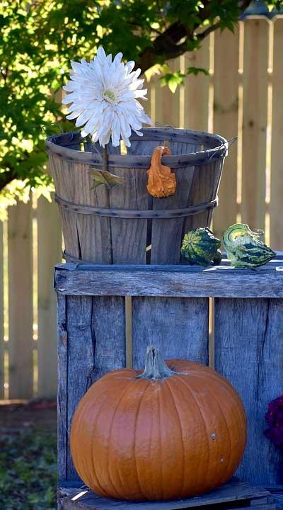 Rustic Basket, Crate, and Pumpkins DIY Fall Garden Decor