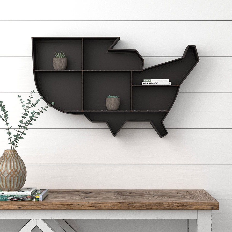 USA Map Black Metal Wall Shelf