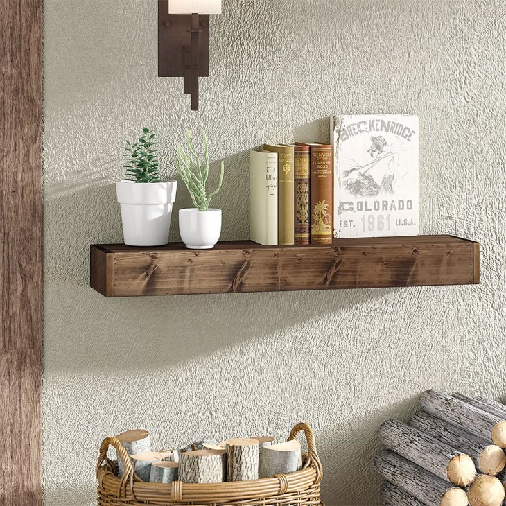 Wadebridge Rustic Wood Floating Shelf