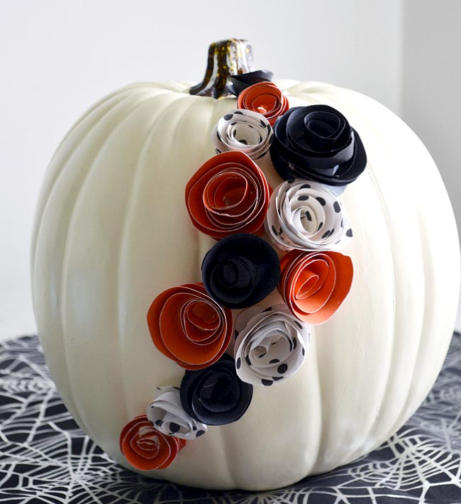 White Pumpkin with Paper Flowers