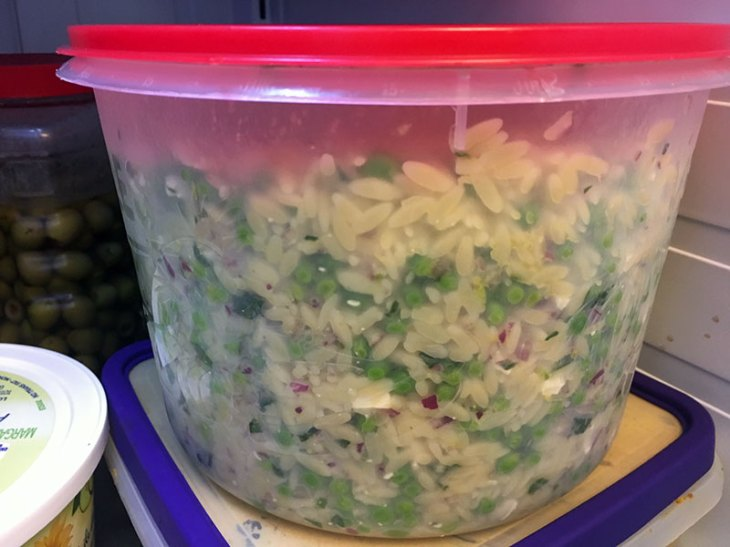Chill your Orzo Pasta Salad in the refrigerator for about 12 hours