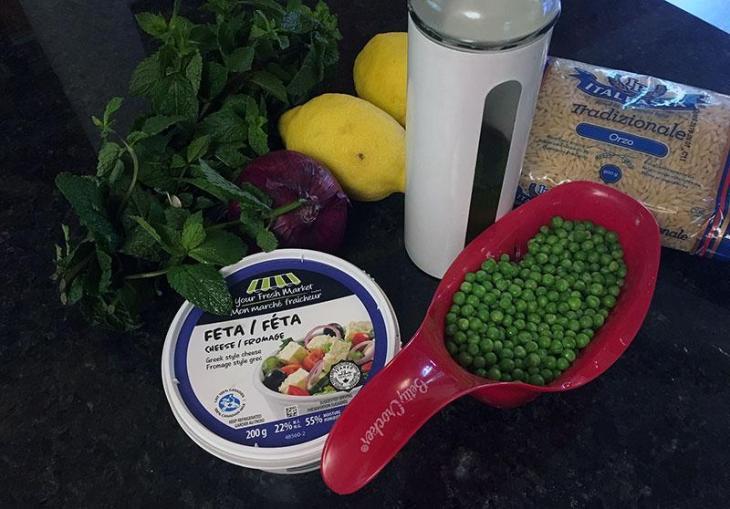 Pea & Mint Orzo Pasta Salad Ingredients