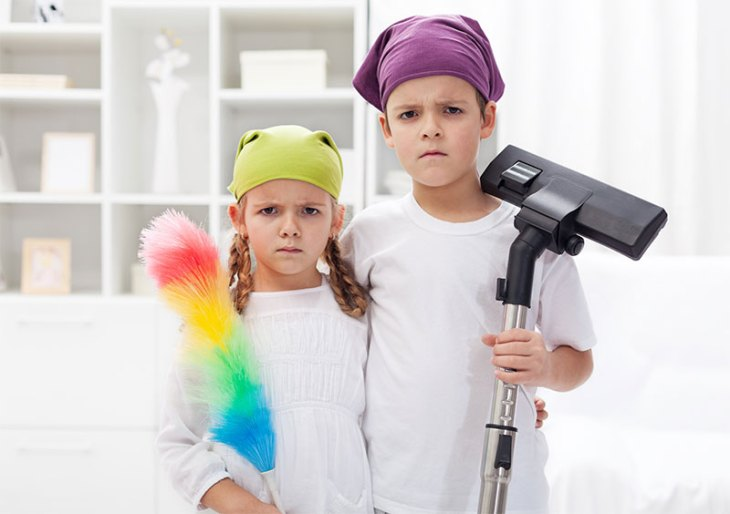 Unhappy Kids Forced to Clean