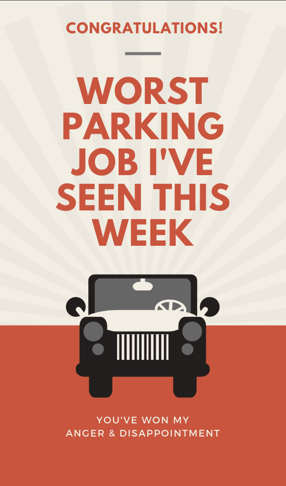 Worst Parking Job Ever | Bad Parking Business Card Note