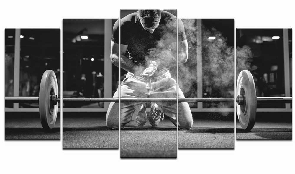Black and White Weightlifting Canvas Art Set